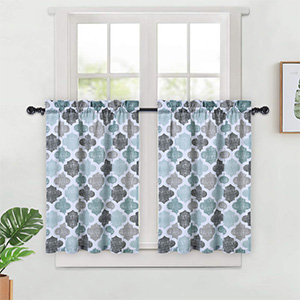 Gray//Navy Lattice Pattern Cotton Blend Cafe Bathroom Curtains for Small Windows Haperlare 3 Pieces Moroccan Kitchen Curtains Tier /& Valance Set 58 x 15 Valance, 2 Set of 29 x 24 Tiers