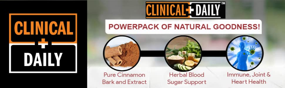CLINICAL DAILY Cinnamon Supplement Cinnamomum Cassia Capsules support Blood Sugar Immune Joint Heart