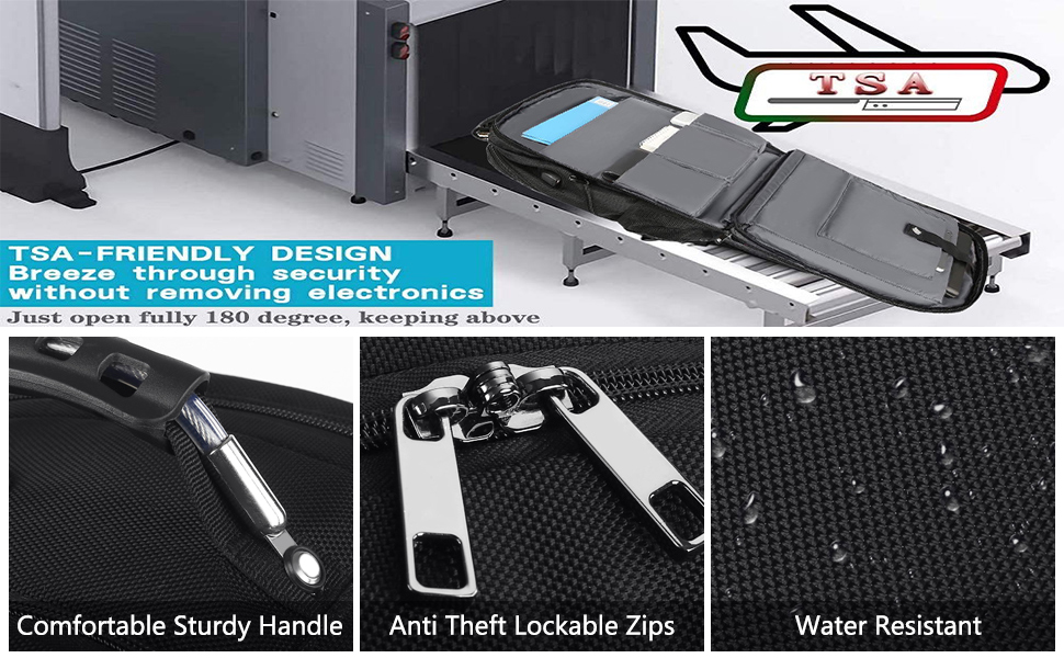 TSA Approved and RFID ANTI-THEFT: At Checkpoint,unfolds the extra large backpack freely 90-180degree