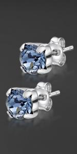 Silver Swarovski Four Claw Earrings