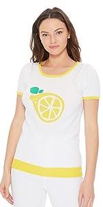 YEMAK Women's Short Sleeve Crewneck Lemon Print Casual T-Shirt Sweater