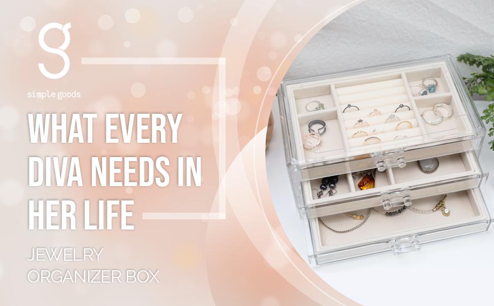 jewelry organizer box clear acrylic case holder bracelet necklace ring