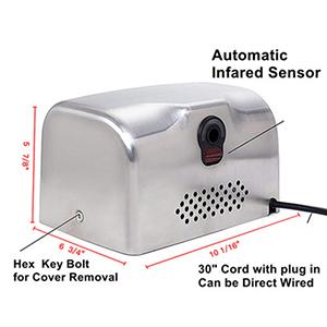 WYJW Secadores de Manos 2500W 220V Secador de Manos el/éctrico de Alta Velocidad Dispositivo de Secado de Manos por inducci/ón Totalmente autom/ática Ba/ño soplador de Aire Caliente