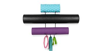 "19"" yoga mat foam roller black wall mount storage rack towel rack thin yoga mat metal shelving unit"