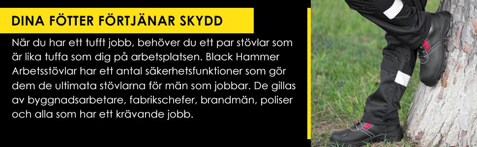 Black Hammer säkerhetsstövlar för herrar ståltåhätta och stålmittensuleskydd