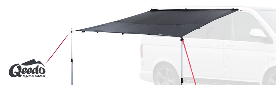 Qeedo Motor Tarp Toldo Camping Coche con protección UV (UV80) y Dark-Coating - Se Adapta a: Furgonetas Camper, caravanas, toldos, tuberías o Montaje ...