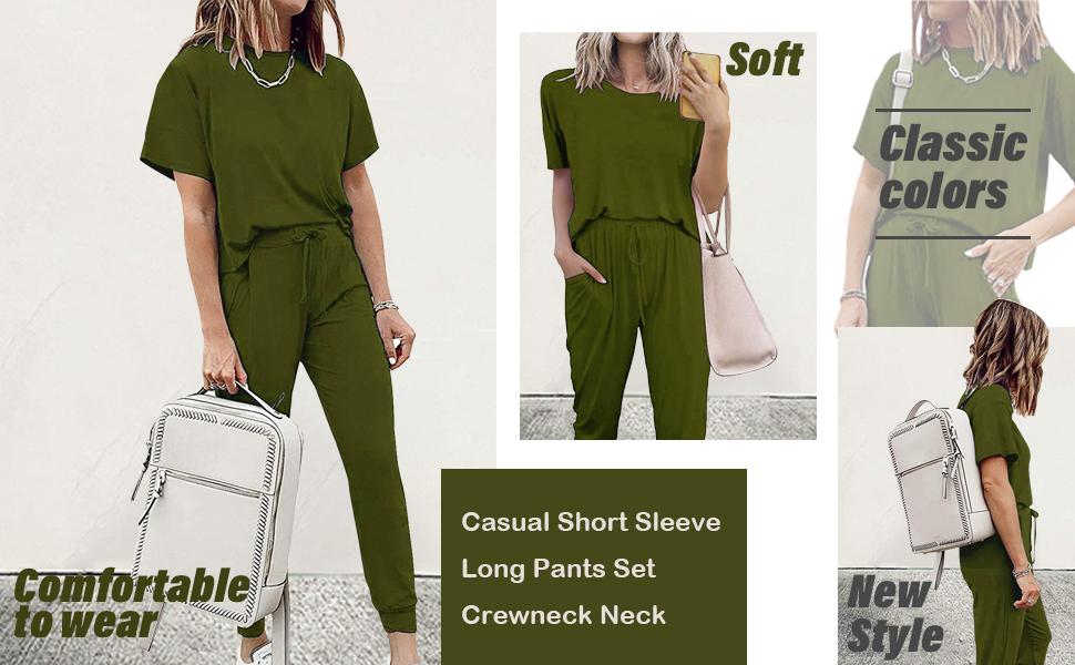 SNUGWIND Women's Casual Short Sleeve Long Pants Set
