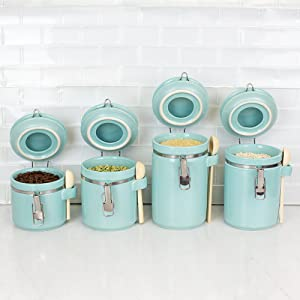 elli flip tite, tea coffee sugar jars, glass storage jars with lids, food storage jars