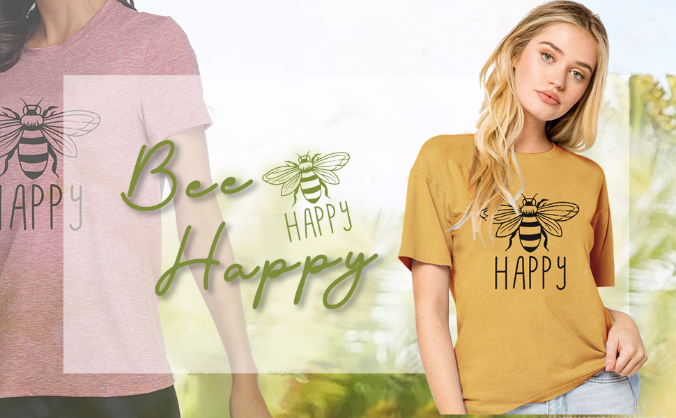 JELLYKIDS Women Be Kind T Shirts Cute Bee Graphic Inspirational Tees Funny Blessed Blouse Tops