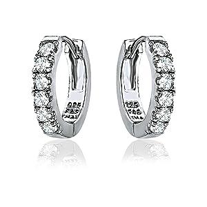 Sterling Silver CZ Cubic Hoop Earrings for women