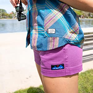 KAVU Patcho Shorts With Pockets, Elastic Waistband, Belt