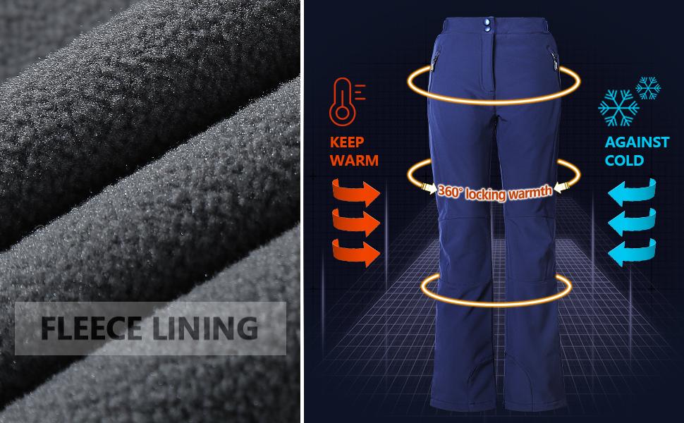 warm winter fleece lined pants