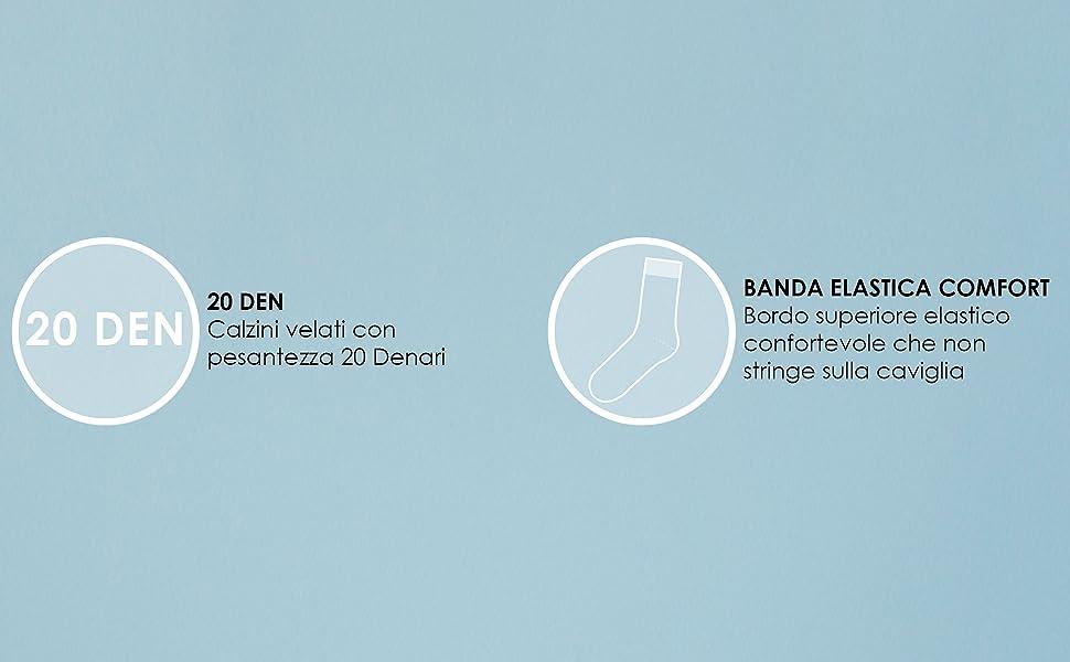 Calzini 20 denari, calzini velati, calzini trasparenti, calzini moda donna, calzini casual donna