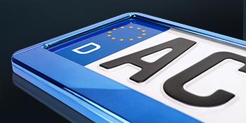 Schildevo 2 Kennzeichenhalter Blau Metallic Hochglanz Chrom Look Nummernschildhalter Kennzeichen Halterung Dhl Versand Auto