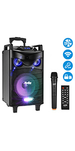 Moukey Karaoke Machine,520W Peak Power Wireless Connection Karaoke Speaker