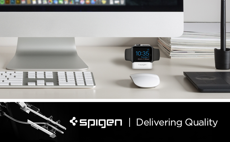 spigen Soporte para Apple Watch, S350 diseñado para Apple Watch con el Modo Nightstand Compatible con Apple Watch Serie 5/4/3/2/1 - Blanco