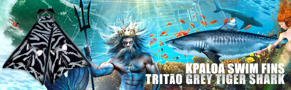 Kpaloa Swim fins Triton Blue Tiger Shark Bodysurf Bodyboarding