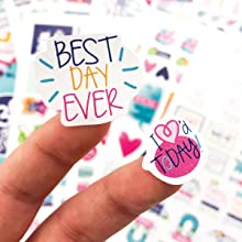 Grateful Heart Planner Stickers Variety Set for Gratitude, Thankful, Happy, Colorful, Heart