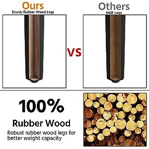 rubber wood legs