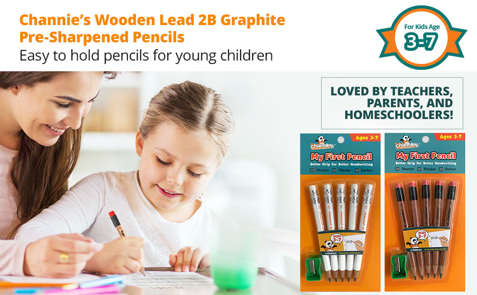 wooden lead 2B graphite pre sharpened pencils, easy for kids to hold, loved by parents and teachers