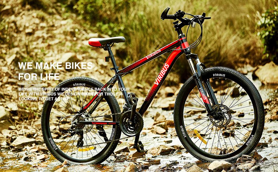 Viribus Adult Mountain Bike with 26 Inch Wheel Derailleur Lightweight Sturdy Aluminum Frame Bicycle