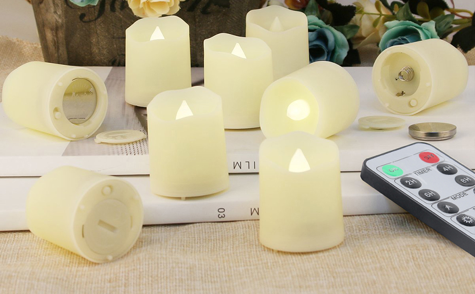 """White, D1.5/"""" x H1.8/"""" Battery Operated 3D Wick LED Tea Light Votive Candles Wondise Flameless Flickering Tealight Candle with Timer 6 Pack Electric Plastic Candles for Wedding Party Outdoor Decor"""