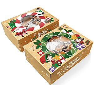 Amazon Com Christmas Cookie Boxes Bulk 12 Pack Kraft Large Holiday Christmas Food Bakery Treat Boxes With Window Candy And Cookie Boxes For Gift Giving Kraft Packaging Containers Tins