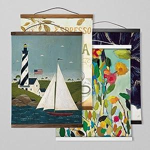 Teak, Oak, White, Black, Trim Options, Hanging Canvas, Canvas Tapestry