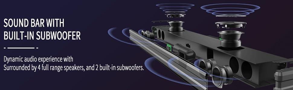 soundbar sounbar sound bar with built in subwoofer bluetooth soundbar 90W 2.1 sound bar tv sound bar