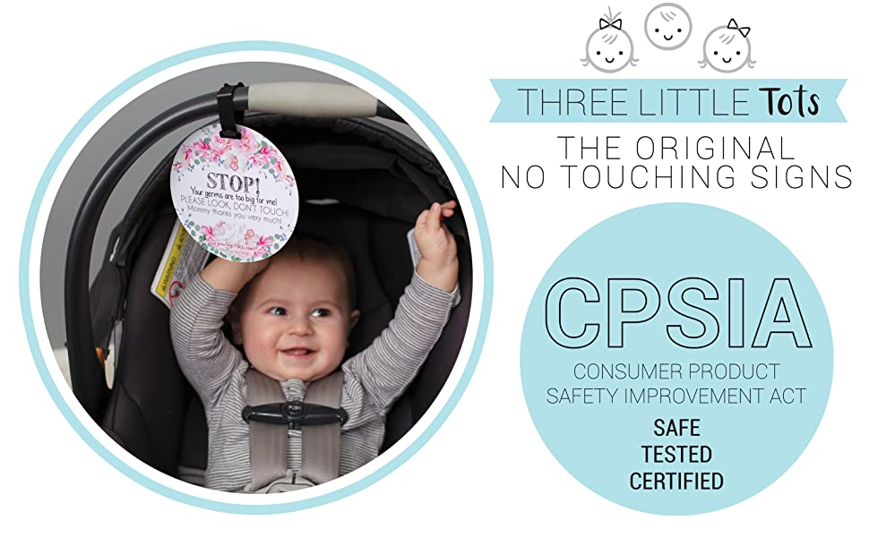 Three Little Tots Two Pack No Kissing and Flower No Touching Baby Car Seat and Stroller Signs CPSIA Safety Tested