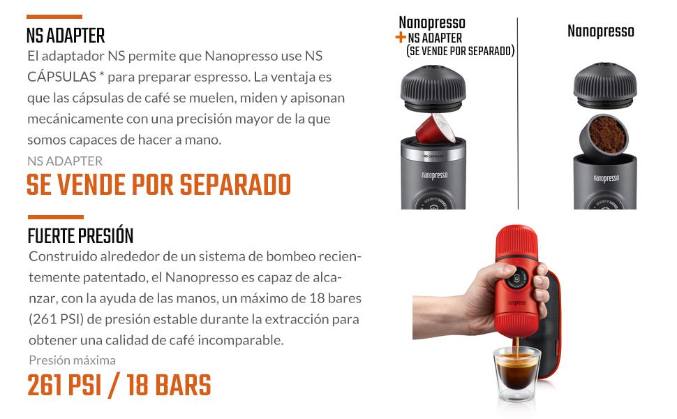 WACACO Nanopresso máquina de café espresso portátil con protectora Nanopresso S-Case adjunto, actualización de la de Minipresso, Cafetera de viaje, Operado manualmente (Nuevos Elementos Lava Rojo): Amazon.es: Hogar