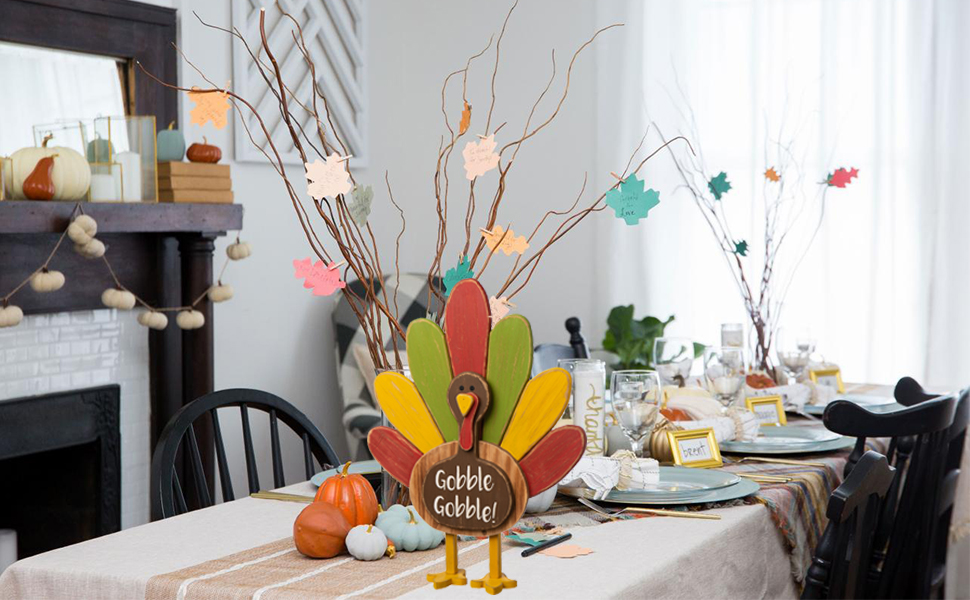 Thanksgiving Wooden Turkey Tabletop Decor Standing Decor Indoor Fall Home Decorative