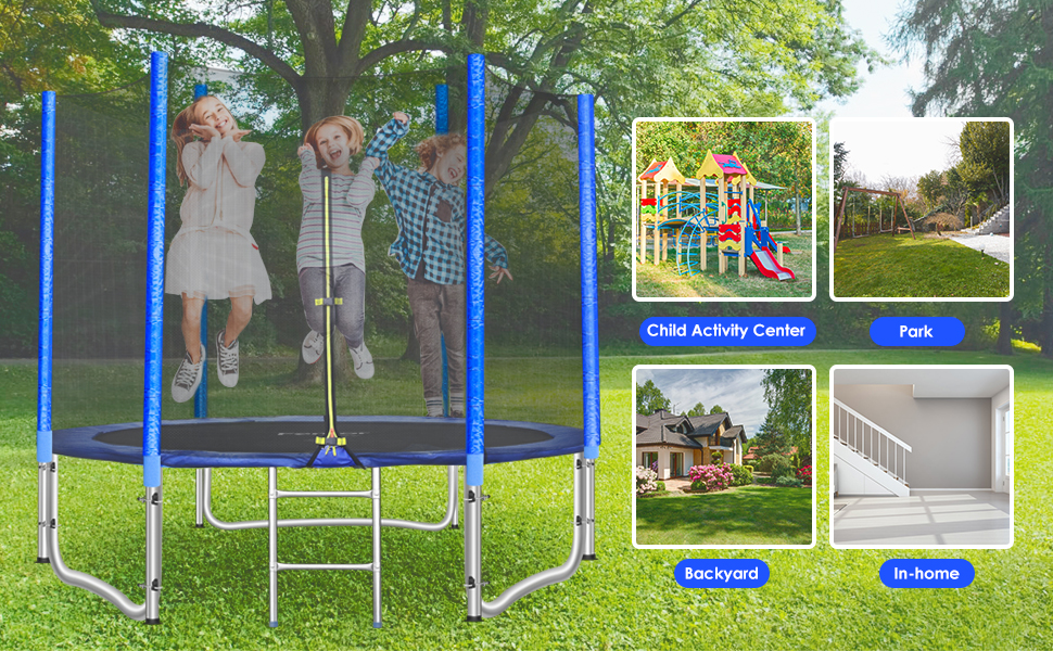 School Adults Outdoor Backyard for Kids Ladder GARTIO 8FT//10FT Trampoline Round Jumping Table Combo Bounce Bed with Safety Enclosure Net Family Spring Pad Jumping Mat