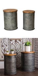 Rustic Storage Bins Metal Stool Ottoman Seat with Round Wood Lid Set of 2