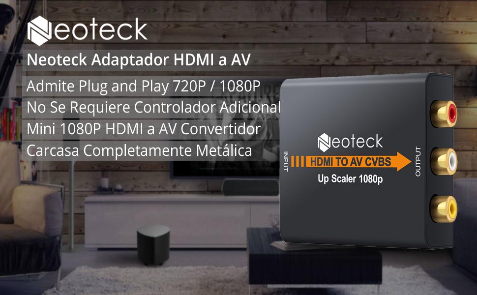 Neoteck HDMI a RCA Convertidor 1080P HDMI a AV 3RCA CVBS Compuesto Video Audio Convertidor Caja de Metal y Chip de Alta Compatibilidad Apoyo PAL /NTSC para PC laptop PS3/4 TV STB