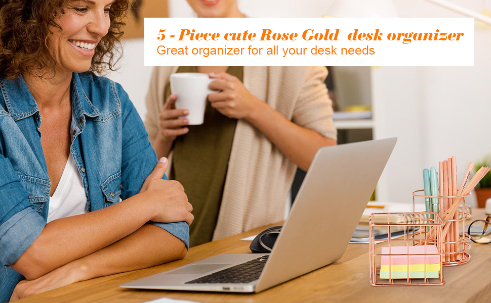 desk organizer set and accessories for Women tray with sliding drawer file supplies rose gold small