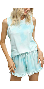 tie dye Tank top and Shorts Pajamas Set Cute Summer Cotton Petite
