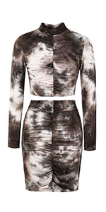 2 piece outfits tie dye tracksuits bodycon skirt dress set ruched bodycon dress co-ord tie dye sets
