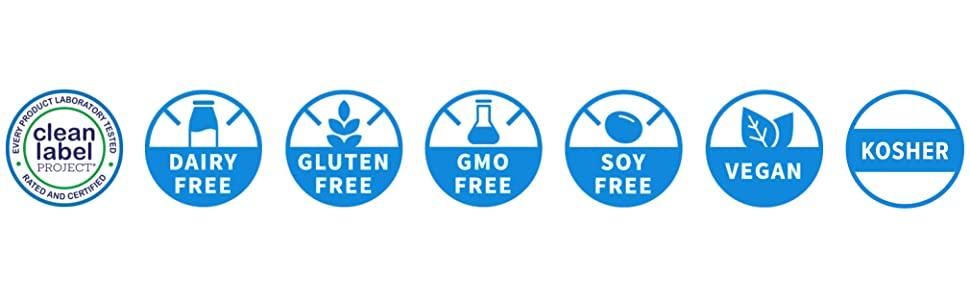 Clean Label, Dairy-Free, Gluten Free, GMO Free, Soy Free, Vegan, Kosher