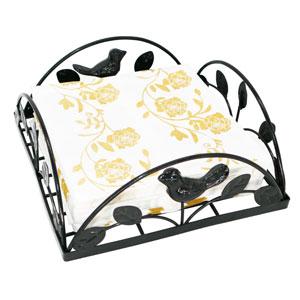 Black Cast Iron Bird amp; Tree Tabletop Napkin Holder Caddy