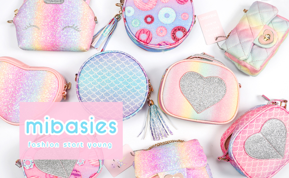 Mibasies Sparkly Toddler Kids Purse for Little Girls Purses