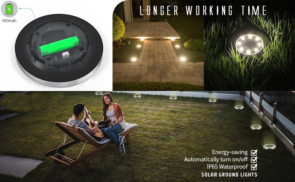 Outdoor Solar Disk Lights, Waterproof In-Ground Lights