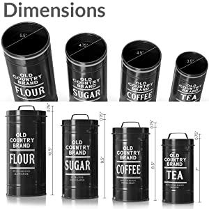 dimension photo for Kitchen Canisters with Lids Black Metal