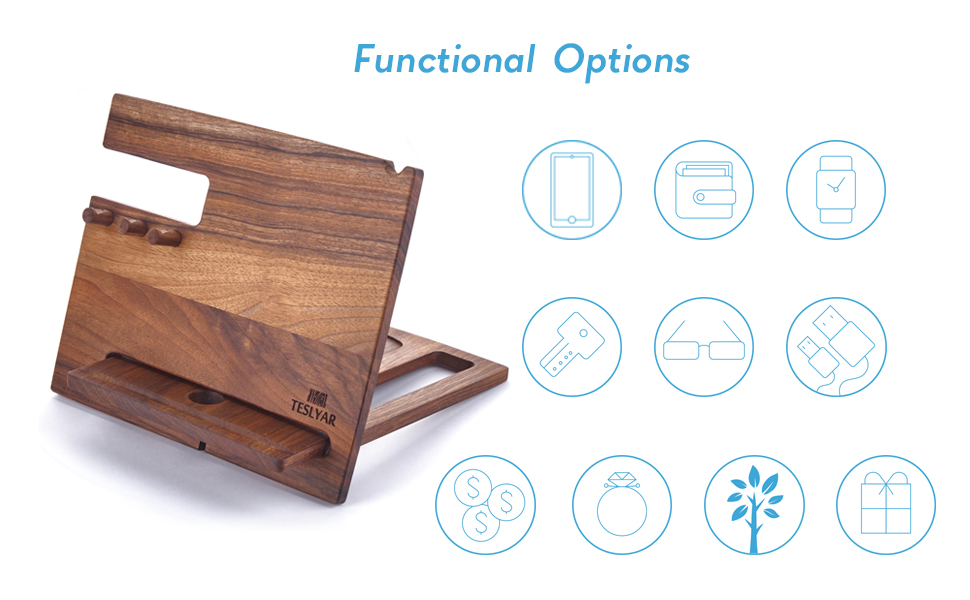 wooden desk organizer phone stand