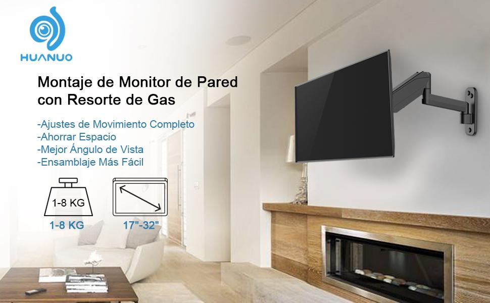HUANUO Soporte de Montaje en Pared para Monitor, Pantallas de Computador/TV de 17 a 32 Pulgadas, Monitor Ajustable con Resorte de Gas Soporte de Brazo, VESA 75/100/200: Amazon.es: Electrónica