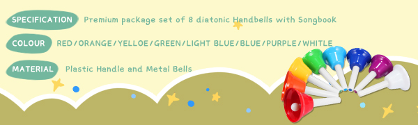 specification of 8 note handbells music toys