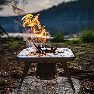 camping stove kitchen wood burning gas adapter bamboo cutting board prep surface and carrying case