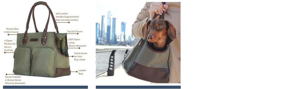 DJANGO Dog Carry Bag - Waxed Canvas and Leather Dog Carrier Purse with Secure Zipper Pockets