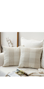 buffalo check plaid pillows beige cream ivory classic