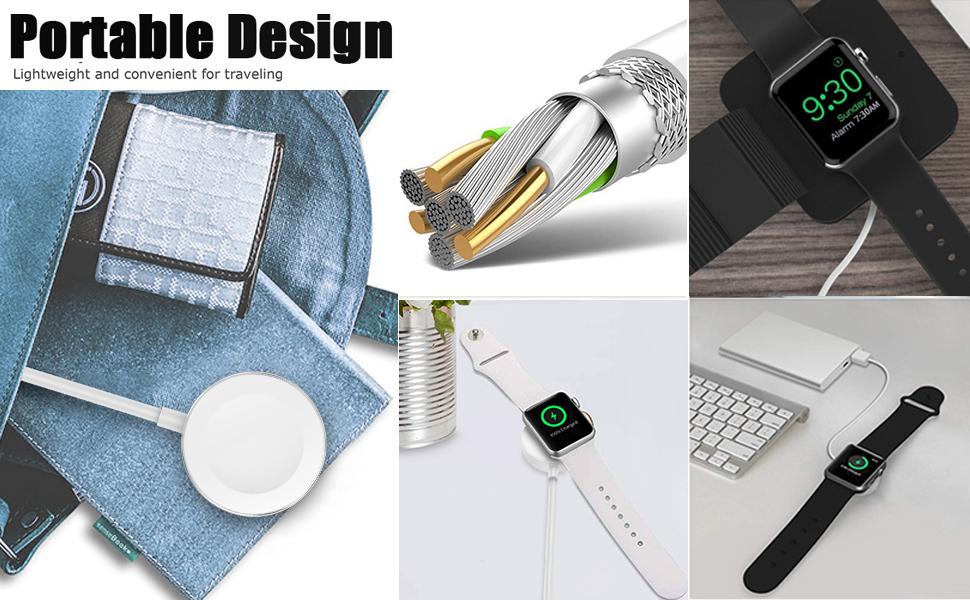 AICase iWatch Chargeur,Câble de Charge magnétique pour Apple WatchiWatch 38mm 40mm 42mm 44mmApple Watch Series 1,2,3,4,5(1M)